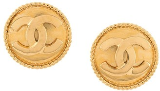 Chanel Pre Owned 1980s CC oversized button earrings
