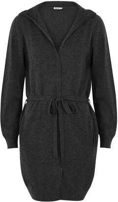 Johnstons of Elgin Charcoal Hooded Cashmere Cardigan