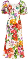 Dolce & Gabbana Floral Print Ruffle Sleeves Dress