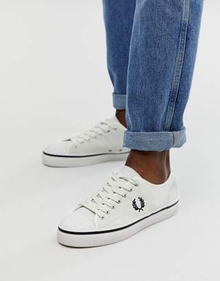 Fred Perry Hughes low suede trainers in off white