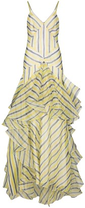 Rosie Assoulin Watercolour Stripe tiered gown