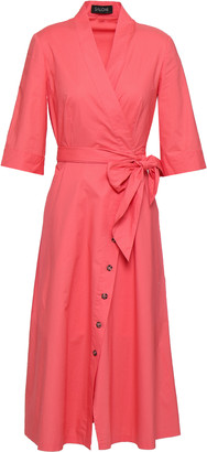 Saloni Mae-b Wrap-effect Cotton-blend Poplin Midi Dress