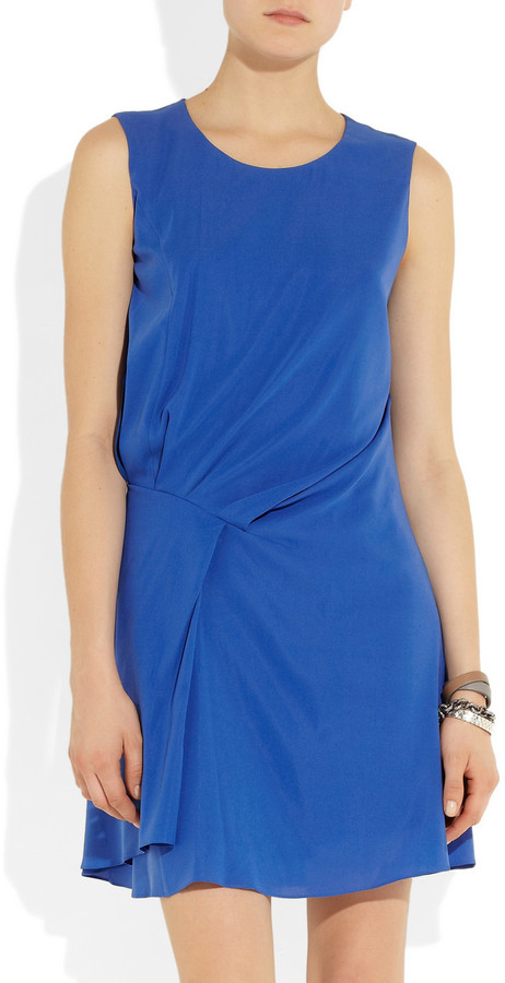 Jil Sander Gathered stretch-silk dress