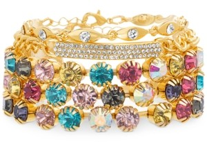 Steve Madden Yellow Gold-Tone Multicolor Crystal & Curved Bar Cuff Bracelet