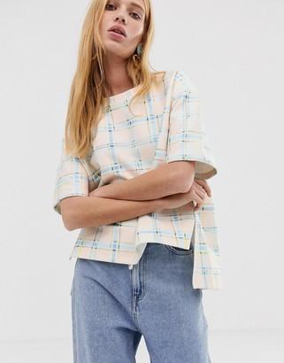 ASOS printed check sweat t-shirt
