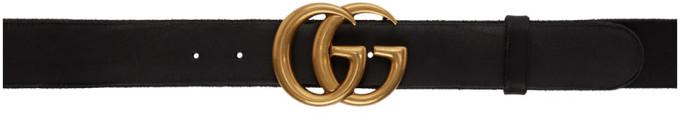 Gucci Black Toscano Leather GG Belt