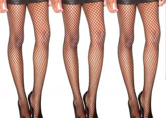 3 Pack - Simply Joshimo's Black Womens Fishnet Tights   Multipack   Large Diamond Net