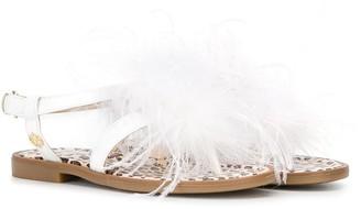 Florens Feather Embellished Flat Sandals