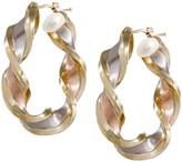 """Arte D'oro Arte d'Oro 1-1/2"""" Satin & Polished Twist Hoop Earrings, 18K"""