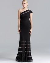 Tadashi Shoji Petites One-Shoulder Illusion Gown