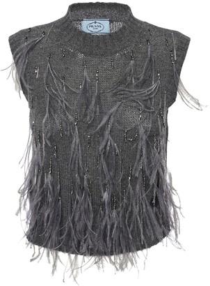 Prada Feather Embellished Wool Knit Top