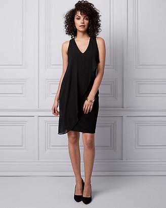 Le Château Chiffon & Knit V-Neck Dress