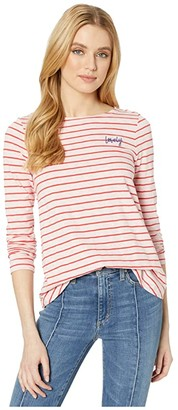 Joules Harbour Light Emblem (Pink/Red Stripe) Women's Clothing