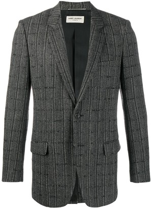 Saint Laurent Checkered Cardigan Blazer