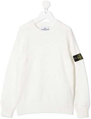 Stone Island Junior Logo Patch Rib-Trimmed Jumper
