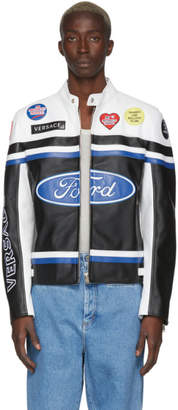 Versace White and Black Ford Edition Patchwork Logo Jacket