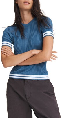 Rag & Bone Arctic Stripe Ribbed Short Sleeve Sweater