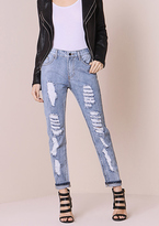 Missy Empire Selma Stone Wash Extreme Rip Mid Rise Jeans