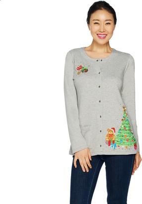 Quacker Factory Holiday Fun Long Sleeve Snap Front Cardigan
