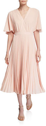 Maggy London Split-Sleeve Pleated Dress