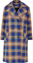 Rag & Bone Ace Oversized Plaid Woven Trench Coat - Blue