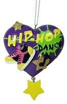 Hip Hop Dance Dancing Shoes Music Note Purple Heart Christmas Tree Ornament
