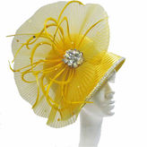 Whittall & Shon Derby Hat Cloche W Pleated Fan And Crystal Brooch