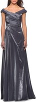Thumbnail for your product : La Femme V-Neck Metallic Satin Ruched Gown