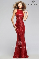 Faviana Sequin Embellished Evening Gown with Side Cut-outs 7705
