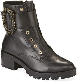 Karl Lagerfeld Paris Piper Leather Ornament Combat Booties