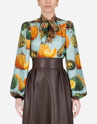 Dolce & Gabbana Twill Blouse With Pumpkin Print