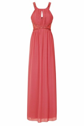 Little Mistress Lauren Keyhole Lace Insert Maxi Dress 12 UK Coral