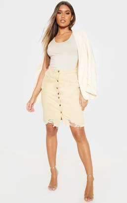 PrettyLittleThing Light Wash Button Through Distressed Denim Midi Skirt