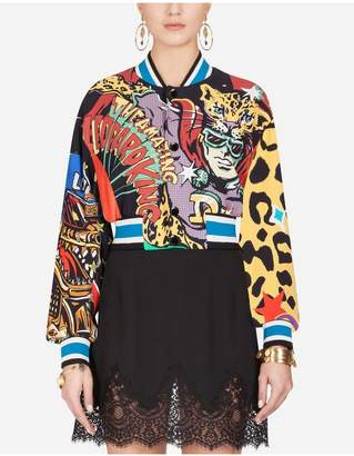 Dolce & Gabbana Short Cady Bomber Jacket With Super Heroine Print