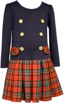 Bonnie Jean Girls Holiday Dress Ponte Red Plaid Button Dress