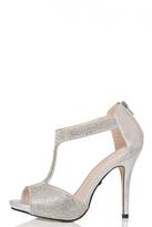 Quiz Silver Diamante T-Bar Sandals