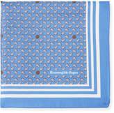 Ermenegildo Zegna Small Leaves Silk Pocket Square, Blue