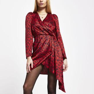 River Island Womens Red print wrap waist long sleeve mini dress