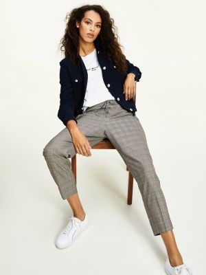 Tommy Hilfiger Check Print Elasticated Waist Tapered Trousers