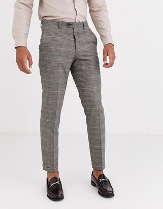Jack and Jones slim fit prince of wales check suit trousers in brown