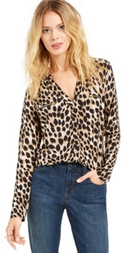 INC International Concepts Inc Petite Animal Printed Zip-Pocket Shirt, Created for Macy's