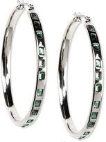 Nine West Earrings, Silver Tone Green Stone Hoop Earrings