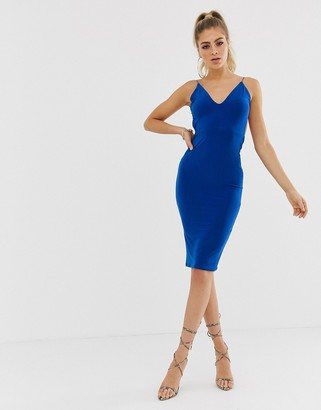 Club L London soft touch midi dress with ruched open back detail in cobalt blue