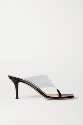 Gianvito Rossi 70 Leather And Pvc Sandals - Black