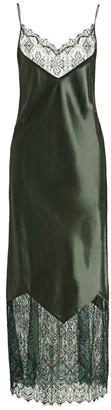 Marina Moscone Lace-Trim Maxi Slip Dress