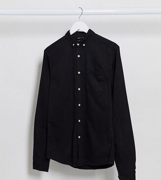 Asos DESIGN Tall stretch slim organic denim shirt in black