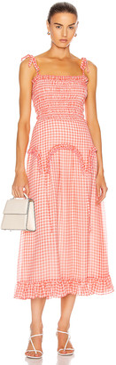 Sandy Liang Rainer Dress in Orange Gingham | FWRD