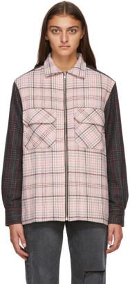 Noon Goons Pink and Brown Plaid Zip Shirt Jacket