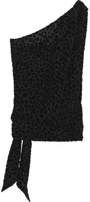 IRO Tough One-shoulder Knotted Devore-velvet Top