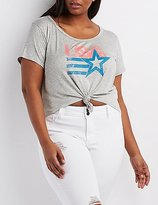 Charlotte Russe Plus Size Knotted Graphic Crop Top
